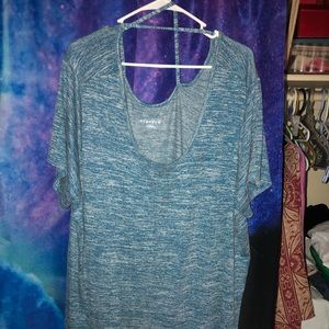 Blue top with criss cross across the back